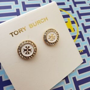 🦢💝NWT Tory Burch round white y gold earrings💝🦢